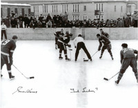 Gordie Howe and Ted Lindsay Autographed Marquette Branch Prison Outdoor Game 11x14 Photo