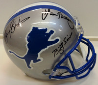 Roaring 20's Autographed Detroit Lions Full Size Replica Helmet - Barry Sanders, Lem Barney & Billy Sims
