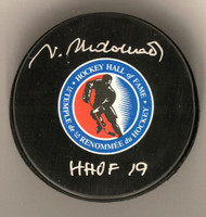 "Vaclav Nedomansky Autographed Hockey Hall of Fame Puck w/ ""HHOF 19"""