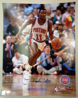 Isiah Thomas Autographed Detroit Pistons 16x20 Photo #1