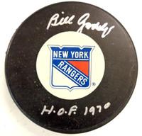 "Bill Gadsby Autographed New York Rangers Puck w/ ""HOF 1970"""