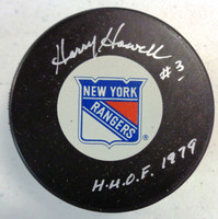 """Harry Howell Autographed Small Logo New York Rangers Puck w/ """"HOF"""""""