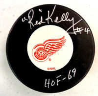 """Red Kelly Autographed Detroit Red Wings Hockey Puck w/ """"HOF-69"""" Inscription"""