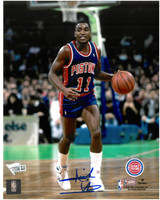 Isiah Thomas Autographed Detroit Pistons 8x10 Photo #4 - Road Action