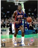Isiah Thomas Autographed Detroit Pistons 8x10 Photo #4 - Road Action