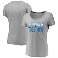 Detroit Lions Women's Stronger Together Fanatics Space Dye V-Neck T-Shirt - Heather Gray