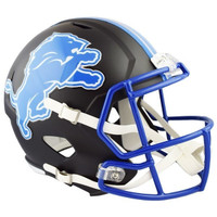 Barry Sanders Autographed Detroit Lions Riddell Full Size Authentic Black Matte Alternate Speed Football Helmet (Pre-Order)