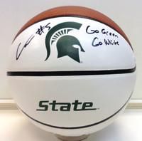 """Cassius Winston Autographed Baden White Panel MSU Logo Basketball w/ """"Go Green, Go White"""" Inscription"""