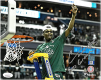"Cassius Winston Autographed MSU 8x10 Photo  w/ ""Go Green"" Inscription #1 - Cutting The Net"