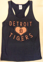 Detroit Tigers Women's 5th & Ocean Glitzy Heart & Rhinestone Tank Top