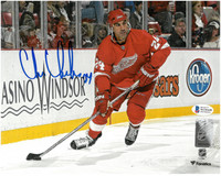 Chris Chelios Autographed Detroit Red Wings 8x10 Photo #1 - Horizontal Home Action
