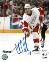 Chris Chelios Autographed Detroit Red Wings 8x10 Photo #4 - Vertical Road Breakaway