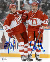 Paul Coffey & Chris Chelios Autographed Detroit Red Wings 8x10 Photo - Alumni Game