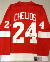 """Chris Chelios Autographed Detroit Red Wings Fanatics Vintage Home Jersey w/ """"HOF 2013"""" Inscription"""