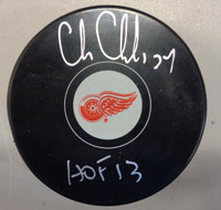 "Chris Chelios Autographed Detroit Red Wings Logo Puck w/ ""HOF 2013"" Inscription"