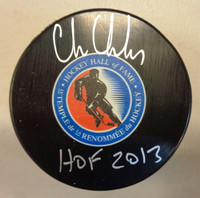 "Chris Chelios Autographed Detroit Hall of Fame Logo Puck w/ ""HOF 2013"" Inscription"