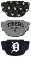 Detroit Tigers Wincraft 3-Pack Face Coverings
