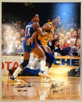 Isiah Thomas & Magic Johnson Autographed 16x20 Photo w/ Hall of Fame Inscriptions