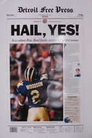 "Charles Woodson Autographed Michigan Wolverines ""Hail, Yes!"" Free Press Poster (Pre-Order)"