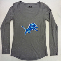 Detroit Lions Women's NFL Team Apparel Grey Scoop Shimmer Longsleeve