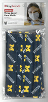 University of Michigan Logo Brands Disposable Three Layer Face Mask - Six Pack