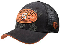 Original Six Old Time Hockey Black Cartago Mesh Back Adjustable Hat