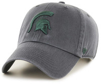 Michigan State University 47 Brand Charcoal Clean Up Adjustable Hat with Spartan Head