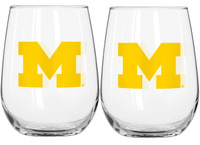 University of Michigan Boelter Brands 16oz Curved Beverage Glass Set - 2 Pack