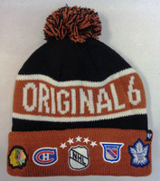 Original Six 47 Brand Black Calgary Cuff Knit Beanie Hat with Pom
