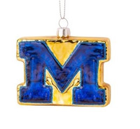 University of Michigan Boelter Brands Blown Glass Mascot Ornament