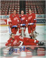 Grind Line Autographed Detroit Red Wings 8x10 Photo - Kocur, Draper, Maltby, & McCarty