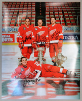Grind Line Autographed Detroit Red Wings 16x20 Photo - Kocur, Draper, Maltby, & McCarty