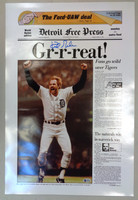 """Kirk Gibson Autographed """"Gr-r-reat!"""" Free Press Poster"""