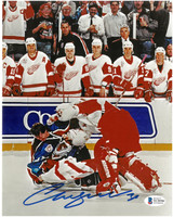 Chris Osgood Autographed Detroit Red Wings 8x10 Photo #4 - Osgood vs. Roy