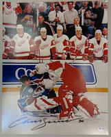 Chris Osgood Autographed Detroit Red Wings 16x20 Photo #3 - Osgood vs. Roy