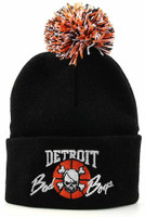 Detroit Pistons Official Bad Boys Classic Knit Cuffed Beanie with Multi-Colored Pom