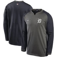 Detroit Tigers Men's Nike Charcoal/Navy Authentic Collection Thermal Crew Performance Pullover Sweatshirt