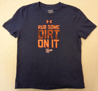 """Detroit Tigers Youth Under Armour """"Rub Some Dirt on It"""" T-Shirt – Navy"""
