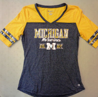 University of Michigan Women's Champion Shimmer Charcoal/Yellow T-shirt