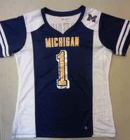 University of Michigan Women's Champion Fashion Shimmer #1 Mesh Football Jersey