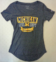 University of Michigan Women's Champion Charcoal Athl Dept Scoop Tri-Blend T-shirt