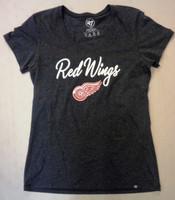 Detroit Red Wings Women's 47 Brand Scoop Neck Black Logo T-shirt