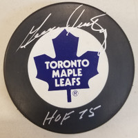 George Armstrong Autographed Maple Leafs Puck with HOF 75