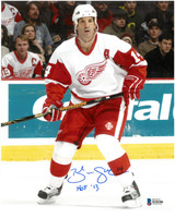 """Brendan Shanahan Autographed Detroit Red Wings 8x10 Photo with """"HOF 13"""" Inscription"""