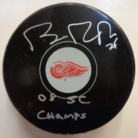 """Brian Rafalski Autographed Detroit Red Wings Souvenir Puck w/ """"08 SC Champs"""""""