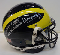 """Lloyd Carr Autographed Michigan Wolverines Authentic Schutt Helmet with """"97 National Champs"""" Inscription"""