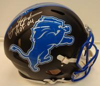 """Barry Sanders Autographed Detroit Lions Full Size Authentic Flat Black Helmet w/""""HOF 04"""""""