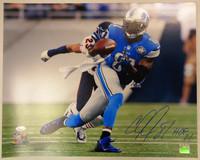 """Calvin Johnson Autographed Detroit Lions 16x20 Photo w/ """"HOF 21"""" - #1"""