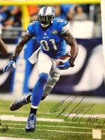 """Calvin Johnson Autographed Detroit Lions 16x20 Photo w/ """"HOF 21"""" - #3"""