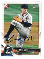 Casey Mize Autographed 2018 Bowman Draft Prospect Card